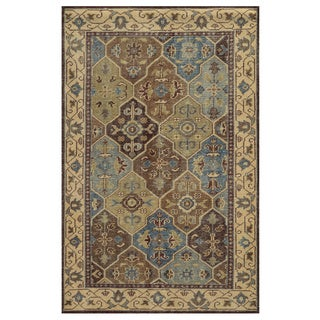 Hand-Knotted Border New Zealand Wool Beige Rug (5' x 8')