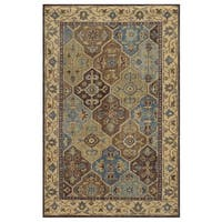 Hand-Knotted Border New Zealand Wool Beige Rug - 5' x 8'
