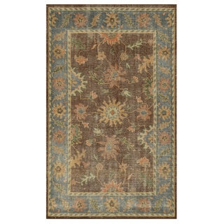 Hand-Knotted Border New Zealand Wool Brown Rug (5' x 8')