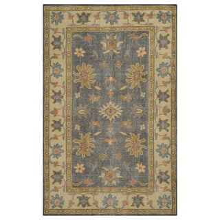Hand-Knotted Border New Zealand Wool Grey Rug (5' x 8')