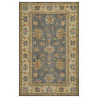 Hand-Knotted Border New Zealand Wool Grey Rug - 5' x 8'
