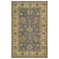 Hand-Knotted Border New Zealand Wool Grey Rug (5' x 8') - 5' x 8'