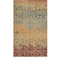 Hand-Knotted Abstract New Zealand Wool Beige Rug (8' x 10') - 8' x 10'