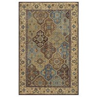 Hand-Knotted Border New Zealand Wool Beige Rug - 8' x 10'