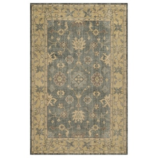 Handmade Border New Zealand Wool Grey Rug (8' x 10')