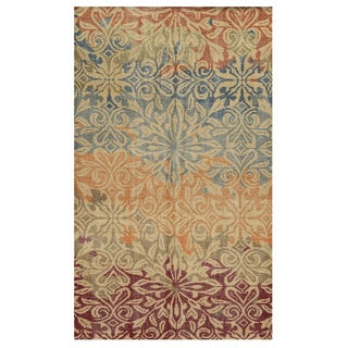 Hand-Knotted Abstract New Zealand Wool Beige Rug (9' x 12')