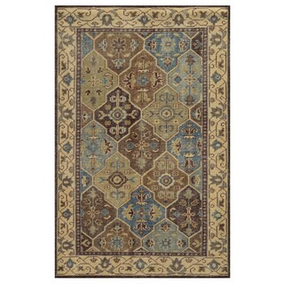 Hand-Knotted Border New Zealand Wool Beige Rug (9' x 12')