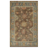 Hand-Knotted Border New Zealand Wool Brown Rug (9' x 12') - 9' x 12'