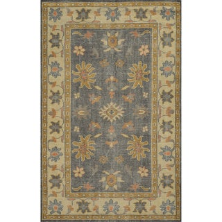 Hand-Knotted Border New Zealand Wool Grey Rug (9' x 12')