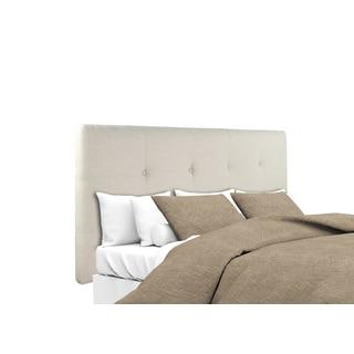 MJL Furniture Ali Button Tufted Beige Upholstered Headboard
