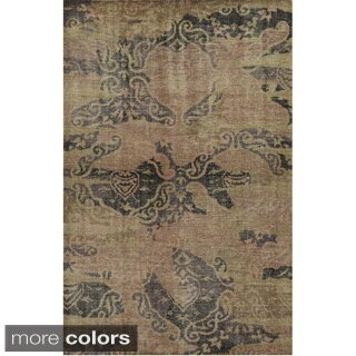 Hand-Knotted Abstract New Zealand Wool Red/ Grey/ Khaki Rug (9' x 12')