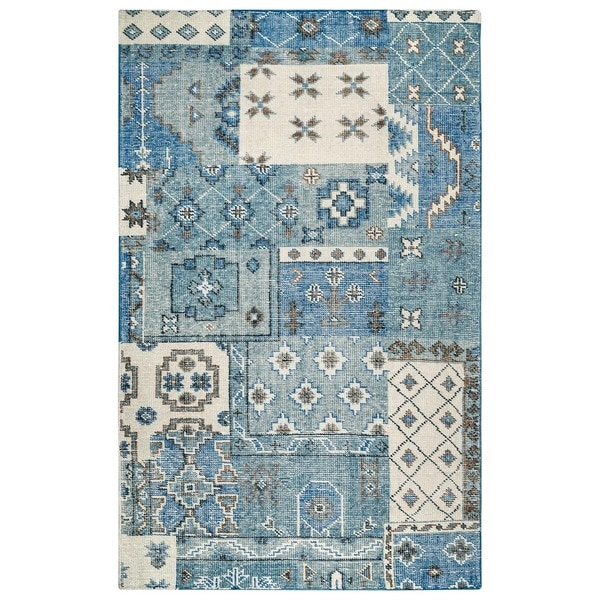 Hand-Knotted Abstract New Zealand Wool Blue/ Grey/ Pink Rug - 2' x 3'