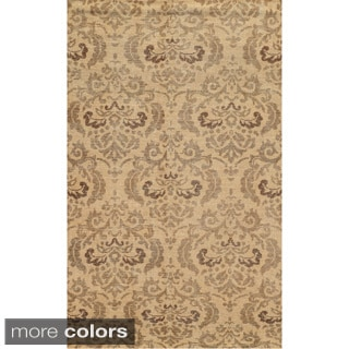 Hand-Knotted New Zealand Wool Abstract Blue/ Beige/ Brown Rug (8' x 10')