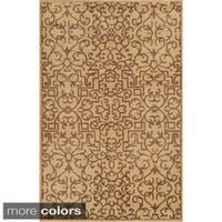 Hand-Knotted Abstract New Zealand Wool Blue/ Beige/ Brown Rug - 2' x 3'