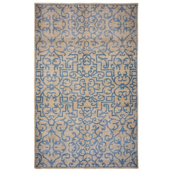 Hand-Knotted Abstract New Zealand Wool Blue/ Beige/ Brown Rug (5' x 8')