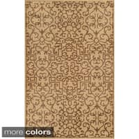 Hand-Knotted Abstract New Zealand Wool Blue/ Beige/ Brown Rug (5' x 8') - 5' x 8'
