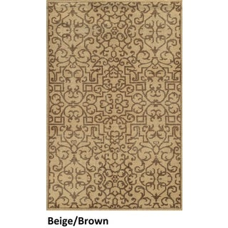 Handmade New Zealand Wool Abstract Blue/ Beige/ Brown Rug (8' x 10')