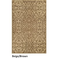 Handmade New Zealand Wool Abstract Blue/ Beige/ Brown Rug - 8' x 10'