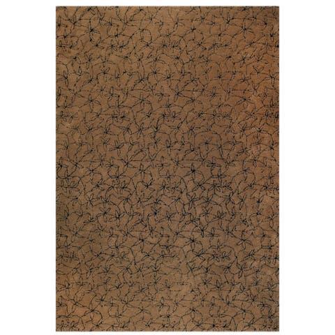 Handmade Madeira Brown and Black New Zealand Wool Rug (India) - 5' x 8'/Surplus
