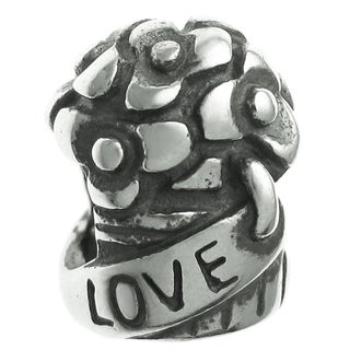 Queenberry Sterling Silver Rose Bouquet 'Love' European Bead Charm