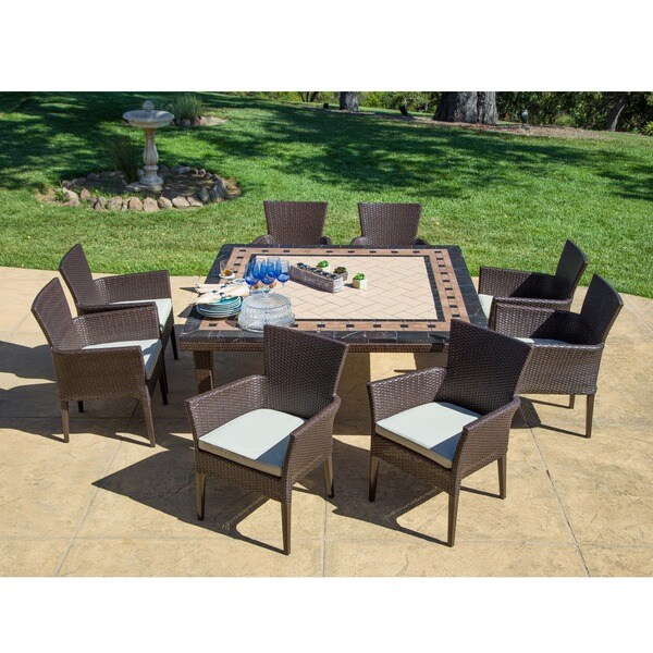 corvus oreanne 9 piece outdoor dining set free shipping today