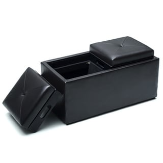 Hodedah Medium Storage Ottoman with Flip over Trays