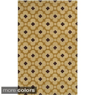 Hand-tufted Trellis Wool Green/ Gold Rug (3' x 5')