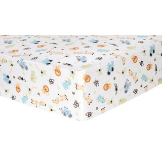 Trend Lab Jungle Friends Deluxe Flannel Fitted Crib Sheet