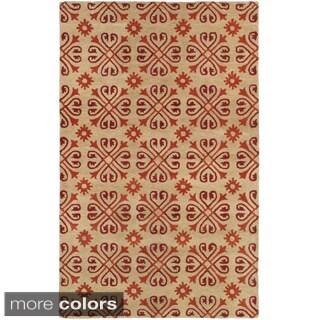 Hand-tufted Trellis Wool Ivory/ Beige Rug (2' x 3')