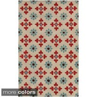 Hand-tufted Trellis Wool Ivory/ Natural Rug - 2' x 3'