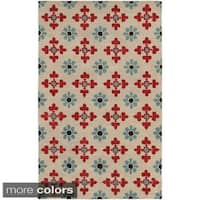 Hand-tufted Trellis Wool Ivory/ Natural Rug - 8' x 10'