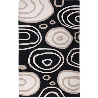 Handmade Abstract Wool Black Rug (5' x 8')