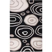 Handmade Abstract Wool Black Rug - 5' x 8'