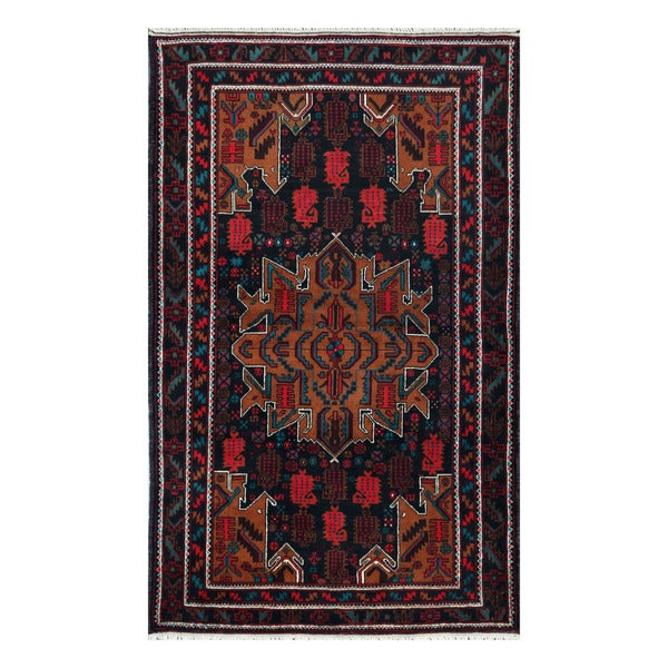 Herat Oriental Afghan Hand-knotted Tribal Balouchi Wool Rug (3'10 x 6'5)