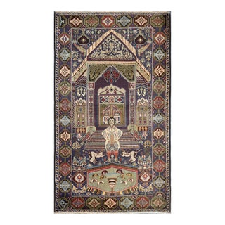 Herat Oriental Afghan Hand-knotted Tribal Balouchi Green/ Ivory Wool Rug (3'11 x 6'9)