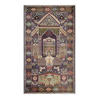 Herat Oriental Afghan Hand-knotted Tribal Balouchi Wool Rug - 3'11 x 6'9