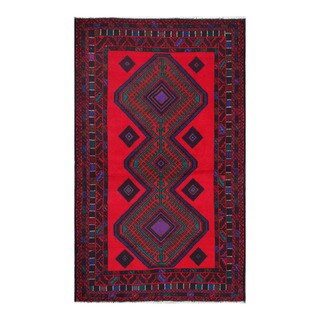 Herat Oriental Afghan Hand-knotted Tribal Balouchi Red/ Purple Wool Rug (3'8 x 6'2)
