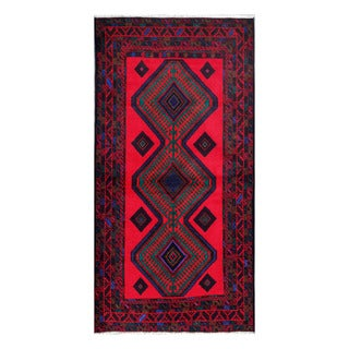 Herat Oriental Afghan Hand-knotted Tribal Balouchi Red/ Green Wool Rug (3'7 x 7'2)