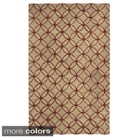 Hand-tufted Trellis Wool Ivory/ Blue/ Red Rug - 2' x 3'