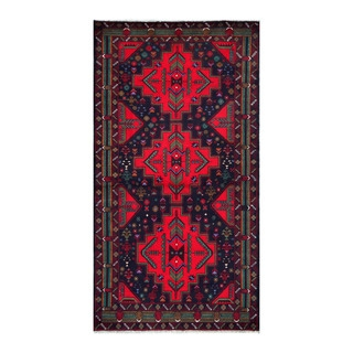 Herat Oriental Afghan Hand-knotted Tribal Balouchi Navy/ Red Wool Rug (3'5 x 6'8)
