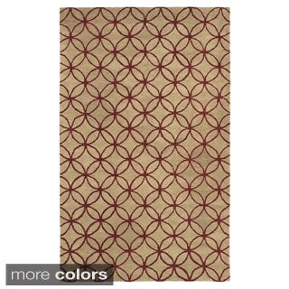 Hand-tufted Trellis Wool Ivory/ Blue/ Red Rug (8' x 10')