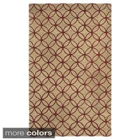 Hand-tufted Trellis Wool Ivory/ Blue/ Red Rug - 8' x 10'