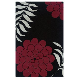 Hand-tufted Floral Wool Black Rug (2' x 3')