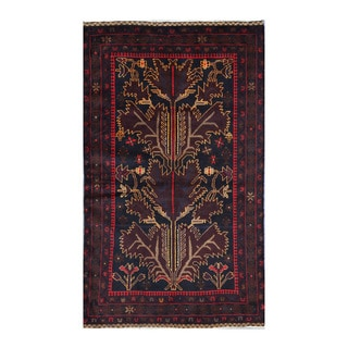 Herat Oriental Afghan Hand-knotted Tribal Balouchi Wool Rug (3'7 x 6')