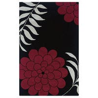 Hand-tufted Floral Wool Black Rug (5' x 8') - 5' x 8'