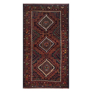 Herat Oriental Afghan Hand-knotted Tribal Balouchi Brown/ Navy Wool Rug (4'1 x 7'8)