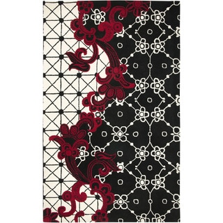 Hand-crafted Abstract Wool Black Rug (2' x 3')