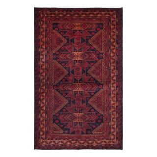 Herat Oriental Afghan Hand-knotted Tribal Balouchi Wool Rug - 3'10 x 6'5