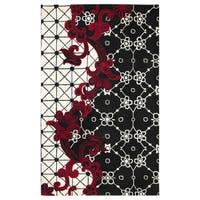 Handmade Wool Abstract Black Rug - 9' x 12'
