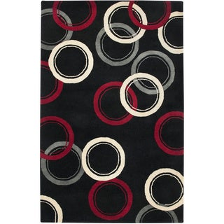 Hand-tufted Abstract Wool Black Rug (2' x 3')